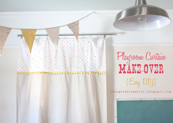playroom curtain make over easy diy, entertainment rec rooms, home decor, reupholster, window treatments, Playroom Curtain Make Over