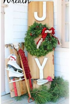 outdoor joy wreath sign, seasonal holiday d cor, wreaths
