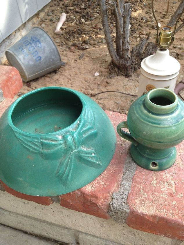 can anyone identify these pieces please, repurposing upcycling, I love these green almost perfect finds Help me find out who is the maker please