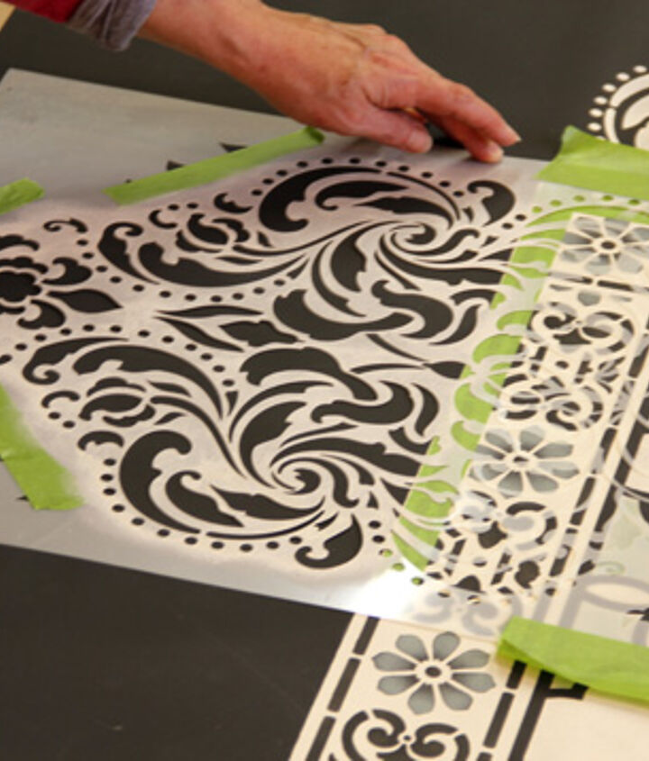Our Florentine Damask Stencil adds the perfect flourish as a border to this Chalk Paint® floor cloth. http://www.royaldesignstudio.com/products/florentine-damask-stencil