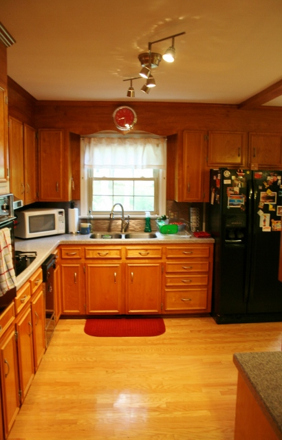 small budget kitchen renovation, home decor, kitchen backsplash, kitchen design, Installed new track lighting to replace our florescent light