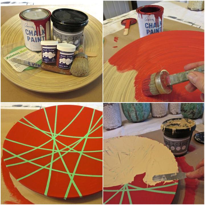 diy ikea hack bowl using wood icing chalk paint skinny tape, crafts, repurposing upcycling