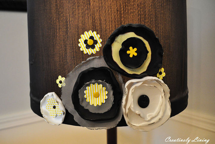 Flower tute from House of Smiths, and colored brads from Micheal's made up the embellishments for the lampshade.