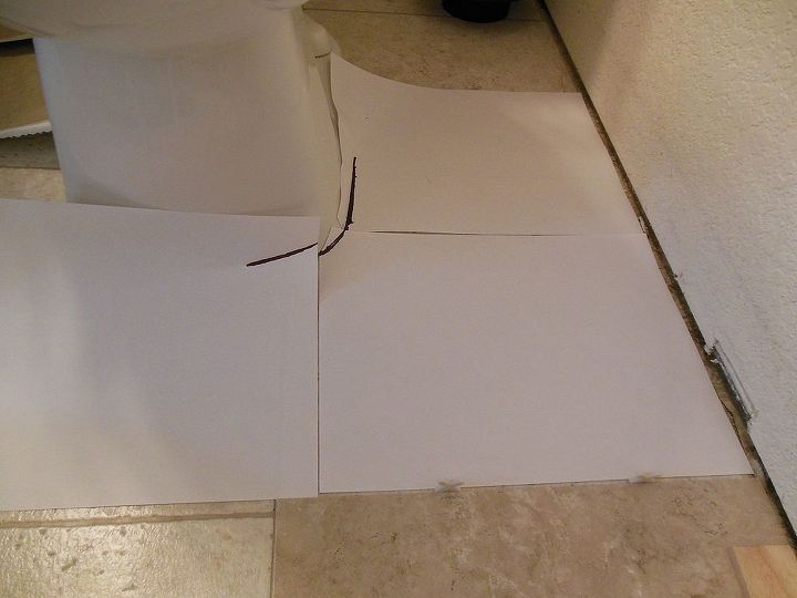 grouted vinyl tile, bathroom ideas, flooring, tile flooring, tiling, Around the toilet I made a template as well but had to tape a few pieces of paper together and pushed the paper down around the toilet to get accurate lines