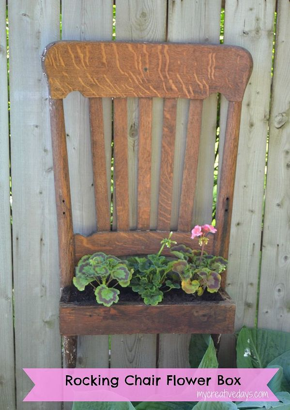 The Potential Of A Broken Rocking Chair Flowers Gardening Painted Furniture Repurposing