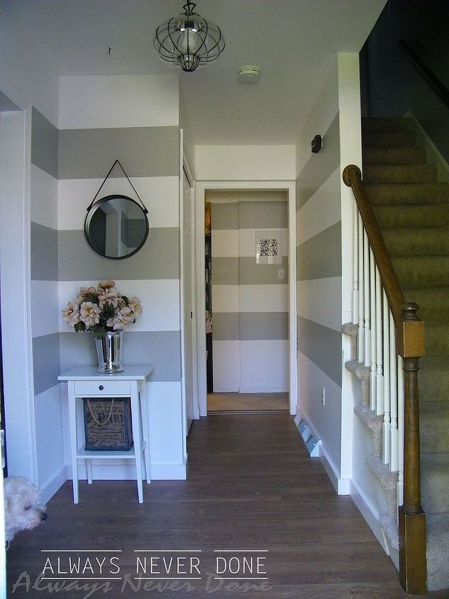 striped wall tutorial, diy, foyer, how to, painting, wall decor