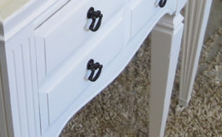 antique end tables repainted white, painted furniture