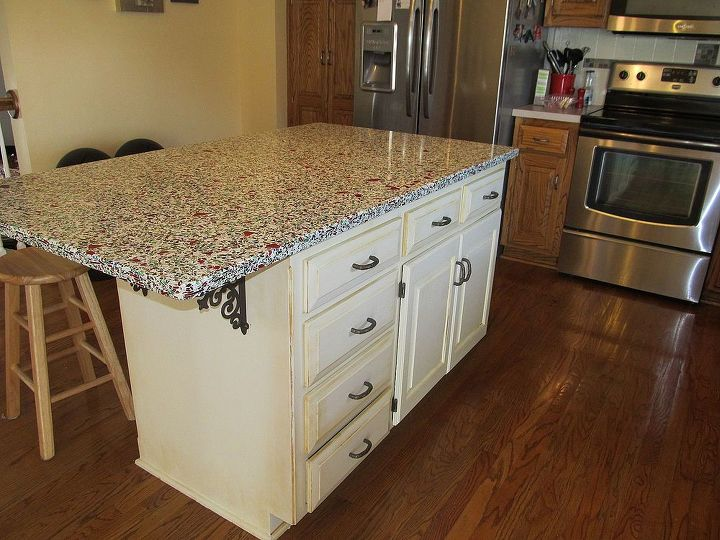 This shows the entire island with repainted cabinets.