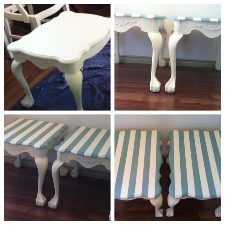 beachy style end tables, home decor, painted furniture, Voila