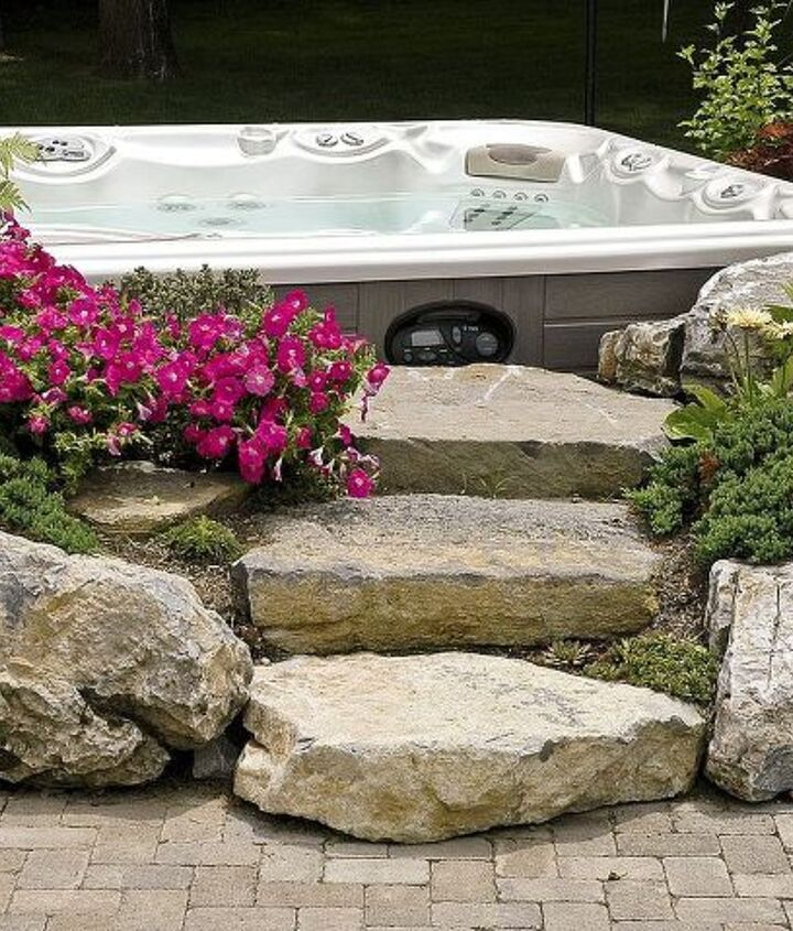 Landscaped Hot Tub surround with moss rock steps www.longislandhottub.com