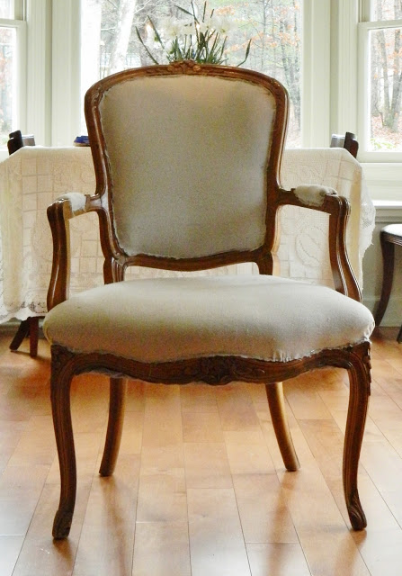 recovered chair using drop cloth fabric, painted furniture, reupholster