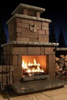 necessories compact fireplace kit, fireplaces mantels, outdoor living, patio, Fireplaces backyard living