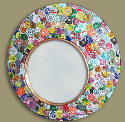 Mirror a friend had in garage-Used Pourable resin and flattened BottleCaps! BEAUTIFUL!