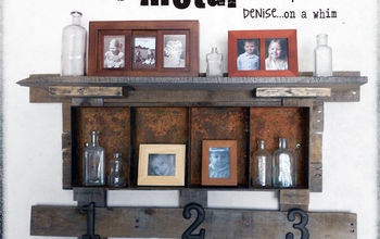 a rusty bin and pallet wood shelf, diy, how to, living room ideas, pallet, shelving ideas, woodworking projects, Constructed of pallet wood and a rusty metal bin my new shelf fits perfectly on my gallery wall and gives my living room a warmth it was missing before