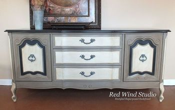 china cabinet or buffet, chalk paint, painted furniture, I achieved the drama I was looking for and I believe this buffet deserves I am sure it will make a beautiful addition to someone s home Until then she sits pretty in my studio