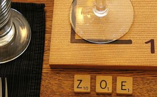 play around with your thanksgiving table decor, seasonal holiday d cor, thanksgiving decorations, Scrabble letter tiles act as place cards spelling out the name of each guest A giant version of the letters is a coaster under the wine glass how many words can YOU make up from the letters at your seat