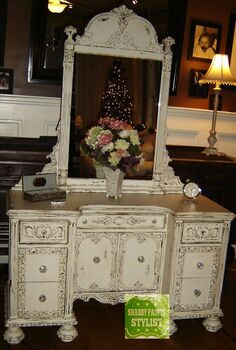 shabby paints vanity, painted furniture, Shabby Paints Alamo White distressed and VAXed by Painted Restorations Elwood NJ