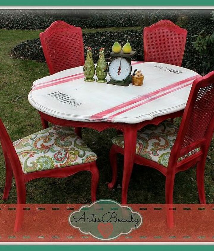 farm fresh turning a old beat up dining set into a fresh vintage beauty, home decor, painted furniture