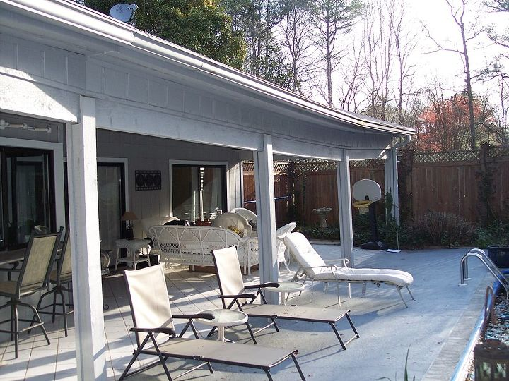 back patio roof line lift, outdoor living, patio, roofing, BEFORE Roof line down 5 1 2 and sagging gutters