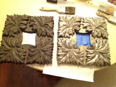 Applying metallic paint to items around the house.