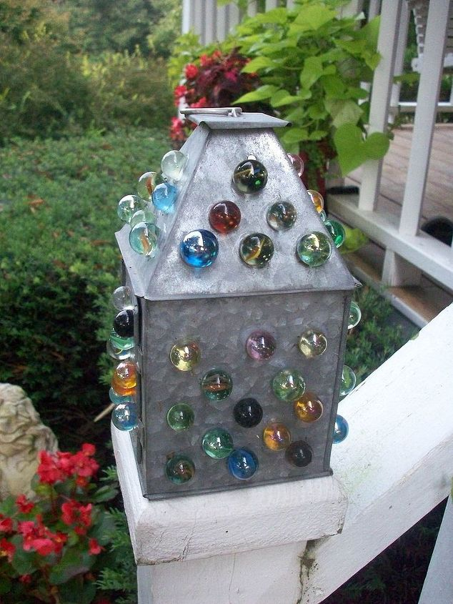 A little lantern dressed up with marbles as a funky 'newel post'