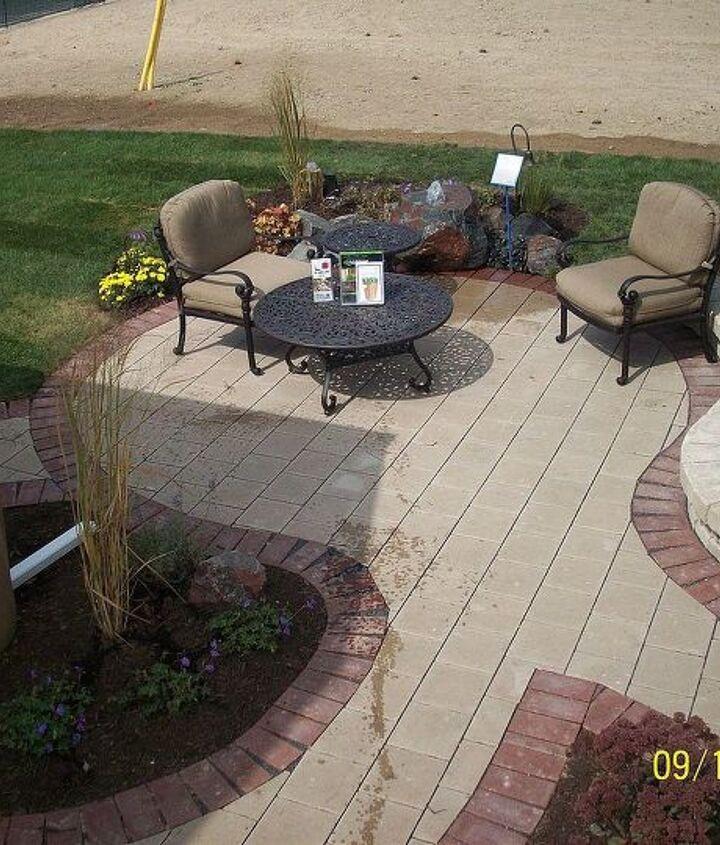 burns harbor patio sidewalk landscaping bubbling rock, concrete masonry, landscape, outdoor living, patio