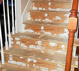 A Creative Staircase Makeover, Diy, Stairs, After Removing The Carpeting  And Hours Spread