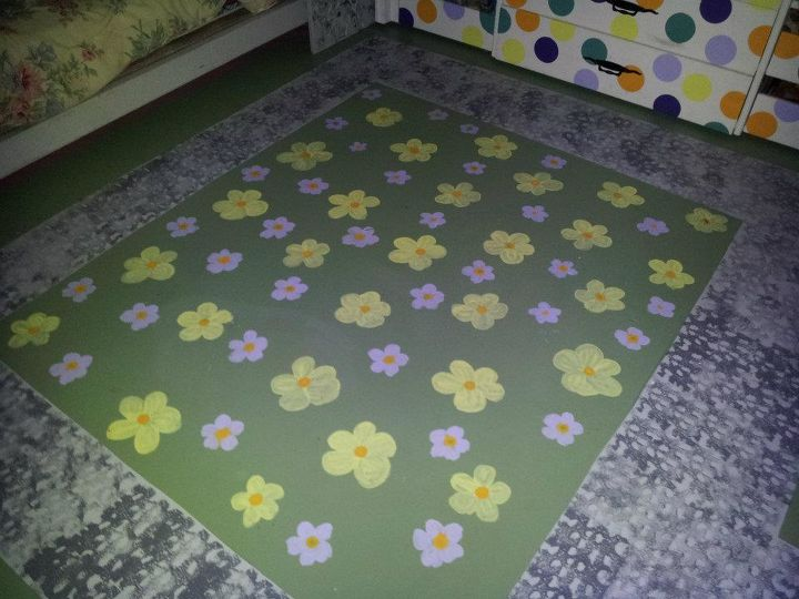 "Due to allergies, all the floors in the house are painted concrete. She has a ""stone path"" surrounding her room and a field of flowers."