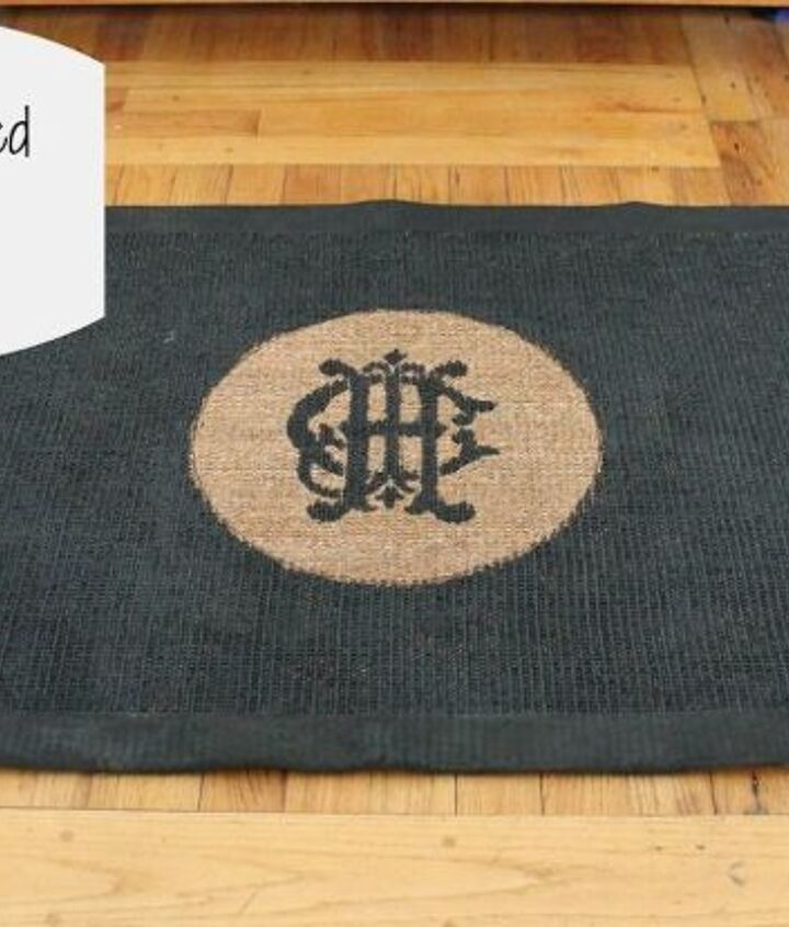 This is the same rug.  All I did was give it a few coats of black paint and kept the center plain so our custom-made monogram would really stand out.