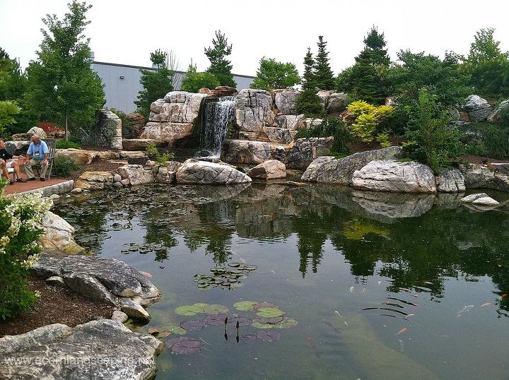 Waterfalls and Ecosystem Fish Pond. This Pond is so big, it is hard to get it all in one photo.