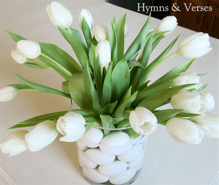 spring flower arrangement with tulips amp eggs, easter decorations, seasonal holiday d cor
