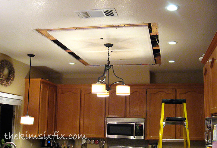 Replacingupdating fluorescent ceiling box lights with ceiling replacing updating fluorescent ceiling box lights with ceiling molding home maintenance repairs kitchen design mozeypictures Image collections