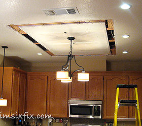 replacing updating fluorescent ceiling box lights with ceiling molding home maintenance repairs kitchen design. The track in ... & Replacing/Updating Fluorescent Ceiling Box Lights With Ceiling ...