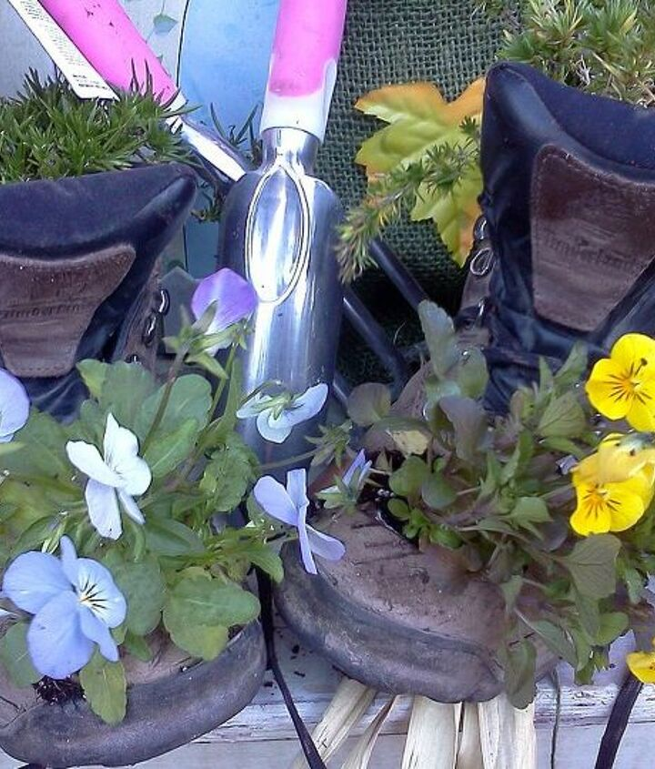 another pair of boots retired, container gardening, gardening, repurposing upcycling