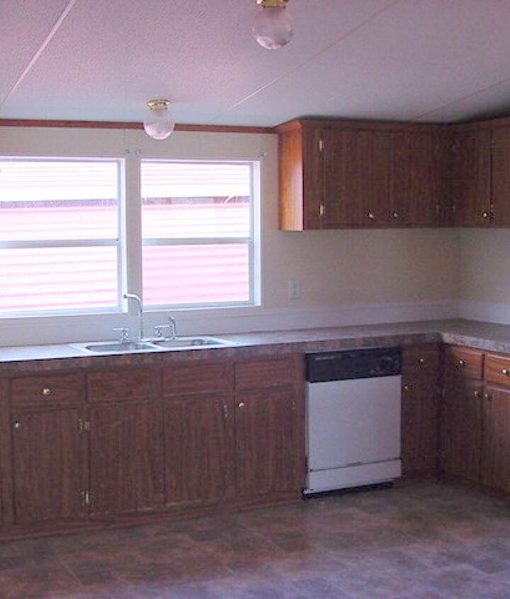 kitchen makeover, home decor, kitchen design, The Before bland unattractive typical mobile home kitchen