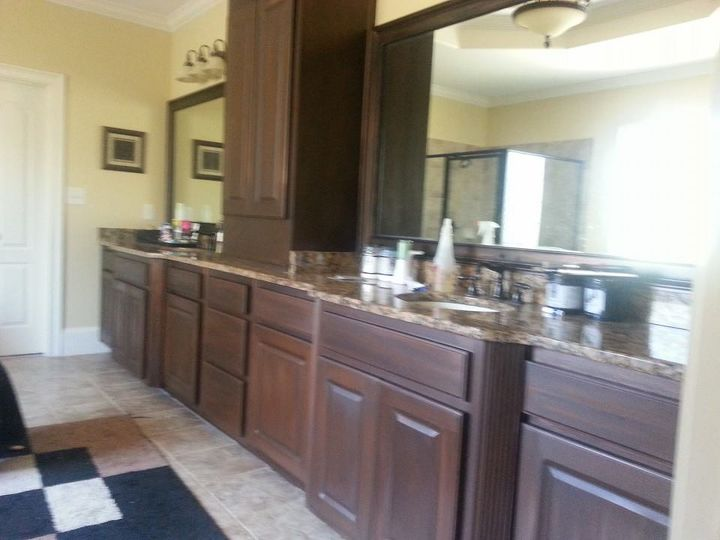 White Cabinets Painted To Look Like Wood Hometalk - How to paint bathroom cabinets like a pro