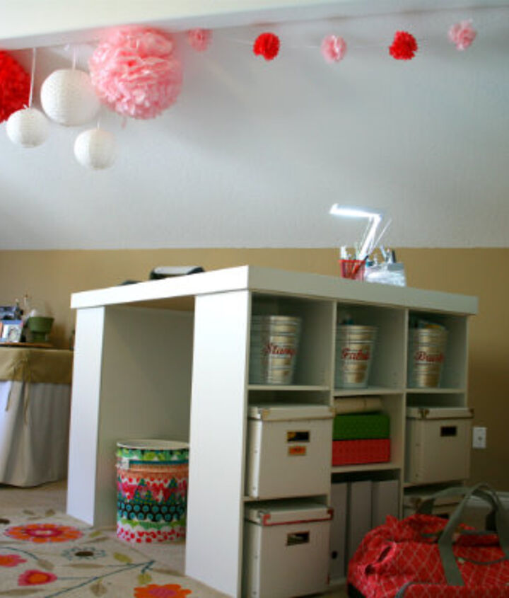 My standing table offers a ton of storage options. IKEA buckets and bins are perfect.