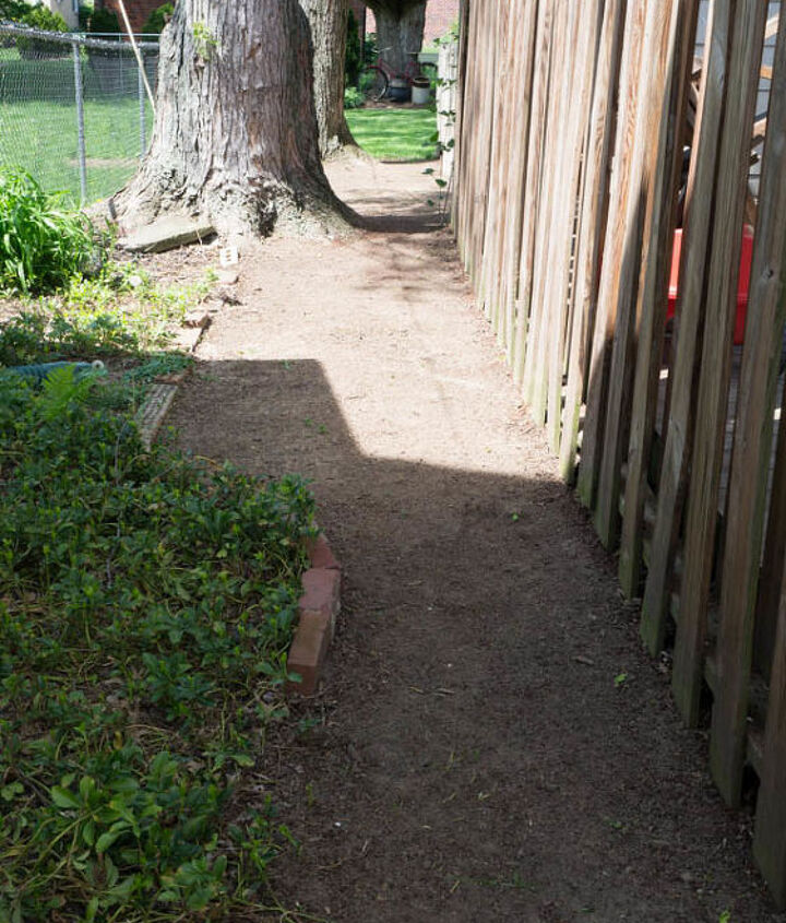 Small dirt walkway - 3 foot section is mine on the right next to wood fence.