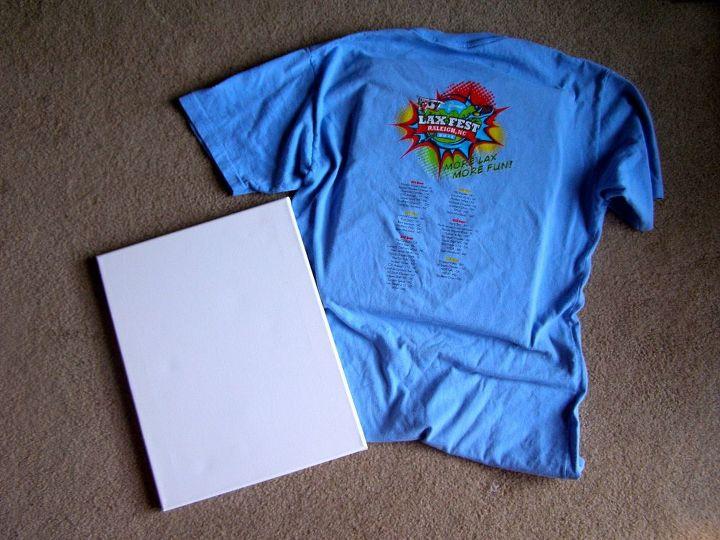 Center t-shirt over canvas.