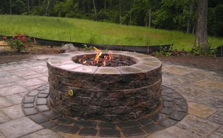 techo bloc blu 60 with villagio banding gas firepit and aquabasin make for a, concrete masonry, patio, Incorporated a gas burner into Techo bloc s firepit kit