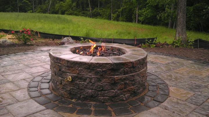 Incorporated a gas burner into Techo-bloc's firepit kit