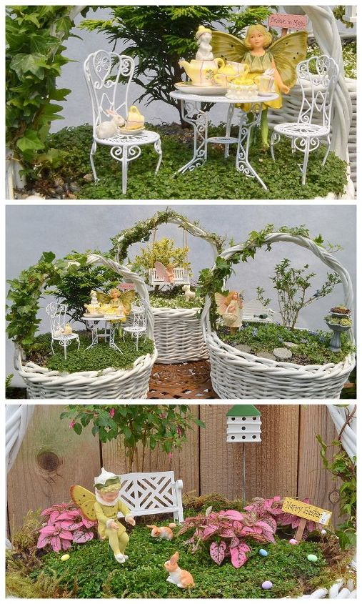 fairy garden easter baskets, crafts, easter decorations, gardening, seasonal holiday decor