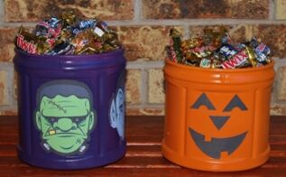 coffee container halloween candy canister, crafts, halloween decorations, repurposing upcycling, seasonal holiday decor, Resize your printables to 3x5 and they will fit perfectly