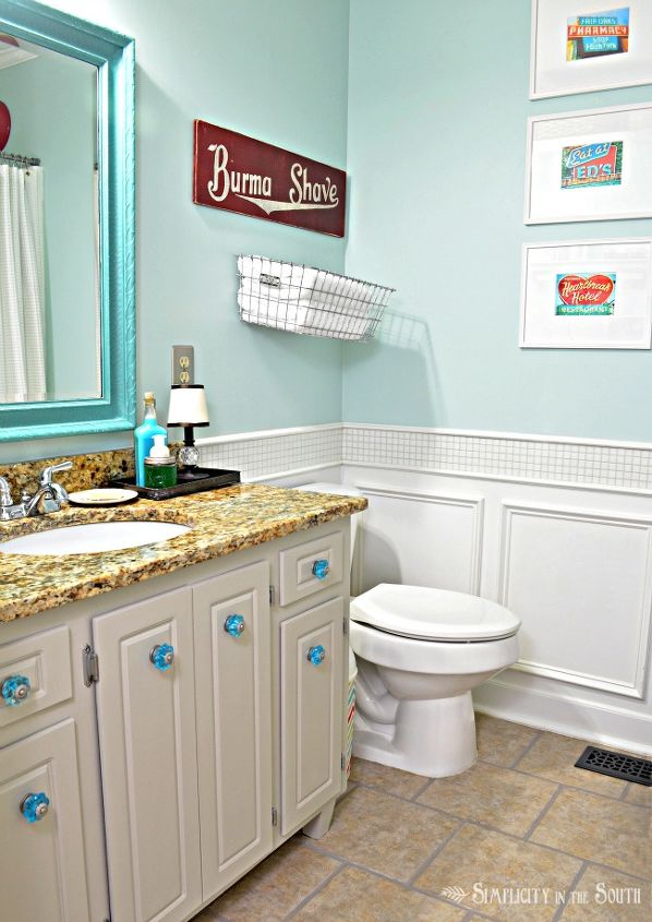 guest bathroom reveal vintage inspired, bathroom ideas, home decor, You can see the true color of the walls in this picture Sherwin Williams Tidewater 6477