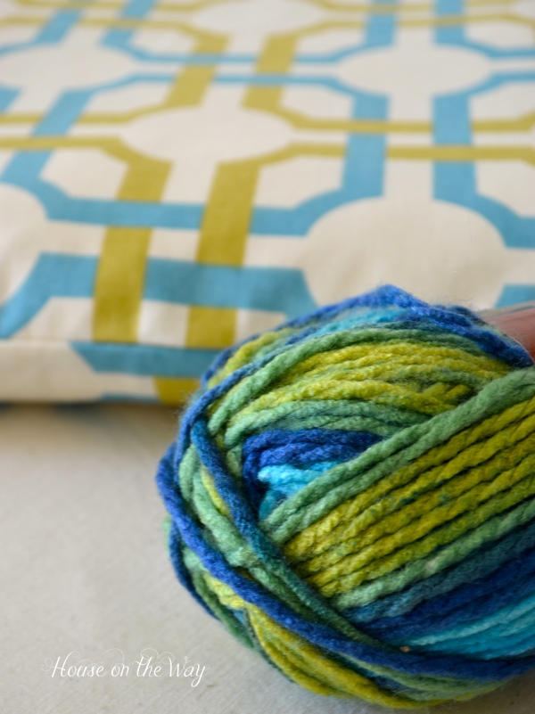 This multi-color yarn works great with the Waverly fabric.