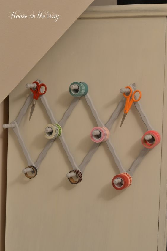 Hanging on the side of an armoire makes everything ready for use.