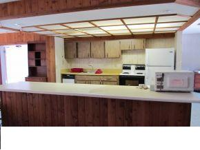 q small kitchen wall, home improvement, kitchen design, kitchen island, I ve seen some great ceiling ideas and I favor traditional or primitive though this house doesn t cry out for either I haven t measured but it is probably 96 of counter plus fridge and stove