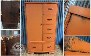 orange wardrobe makeover, painted furniture, woodworking projects