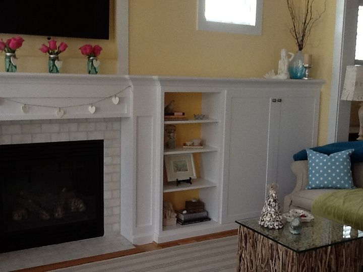 q how to decorate a long mantle, fireplaces mantels, home decor, living room ideas, Shelving cabinets to right side of fireplace
