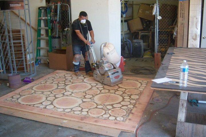 burl floor handmade, diy, flooring, woodworking projects
